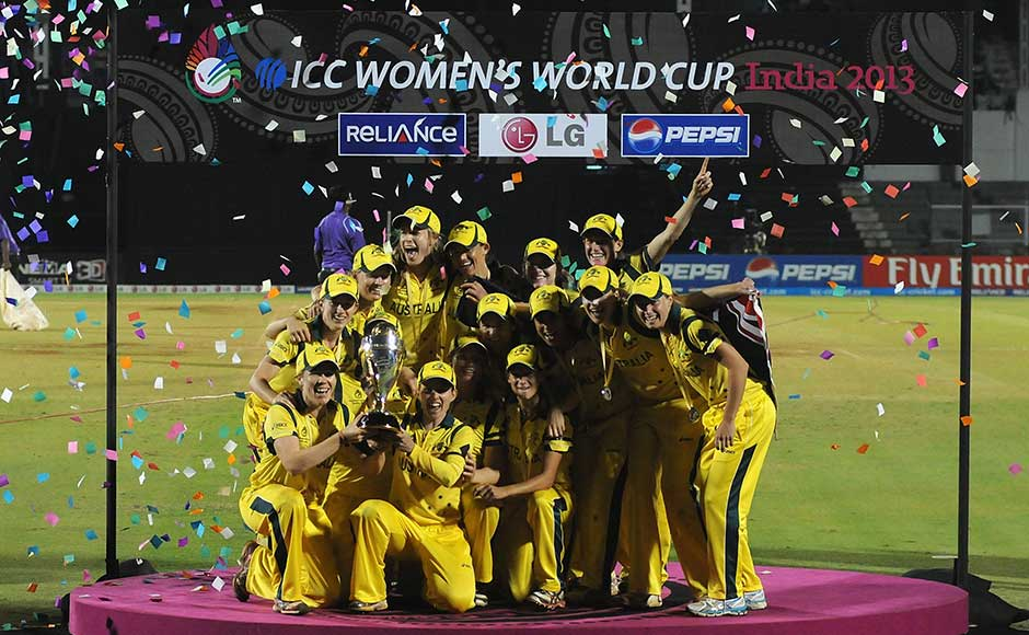 The Australian team celebrates with the Womens World Cup Trophy after the final between Australia and West Indies. Pal Pillai/Getty Images