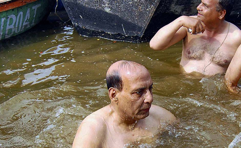 BJP President Rajnath Singh in the water at Sangam during the Maha Kumbh Mela in Allahabad. PTI