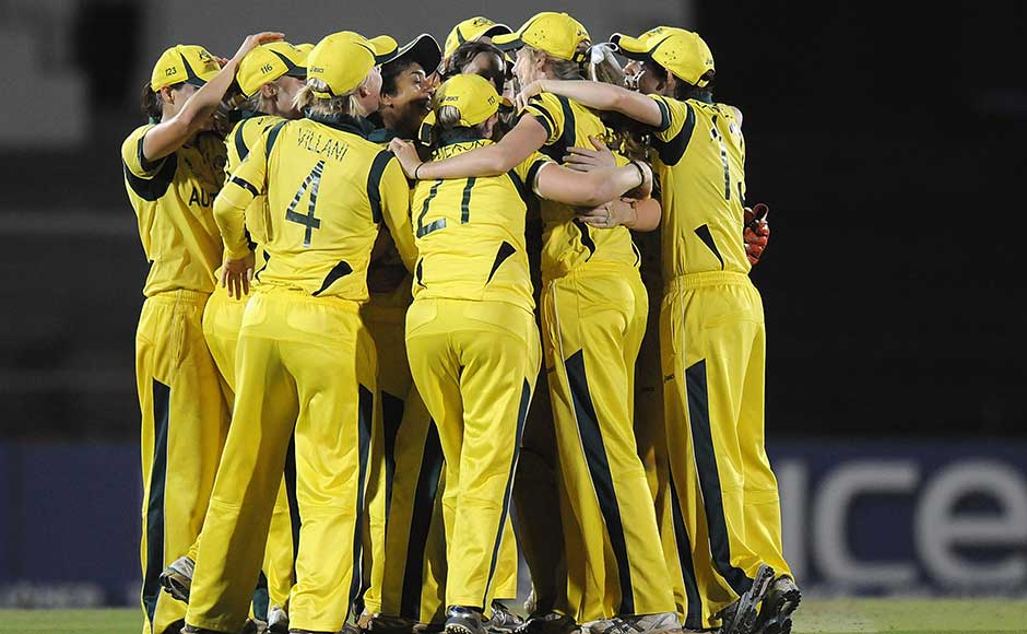 Huddle up: The Australian team made it look easy in the final against the West Indies. Pal Pillai/Getty Images