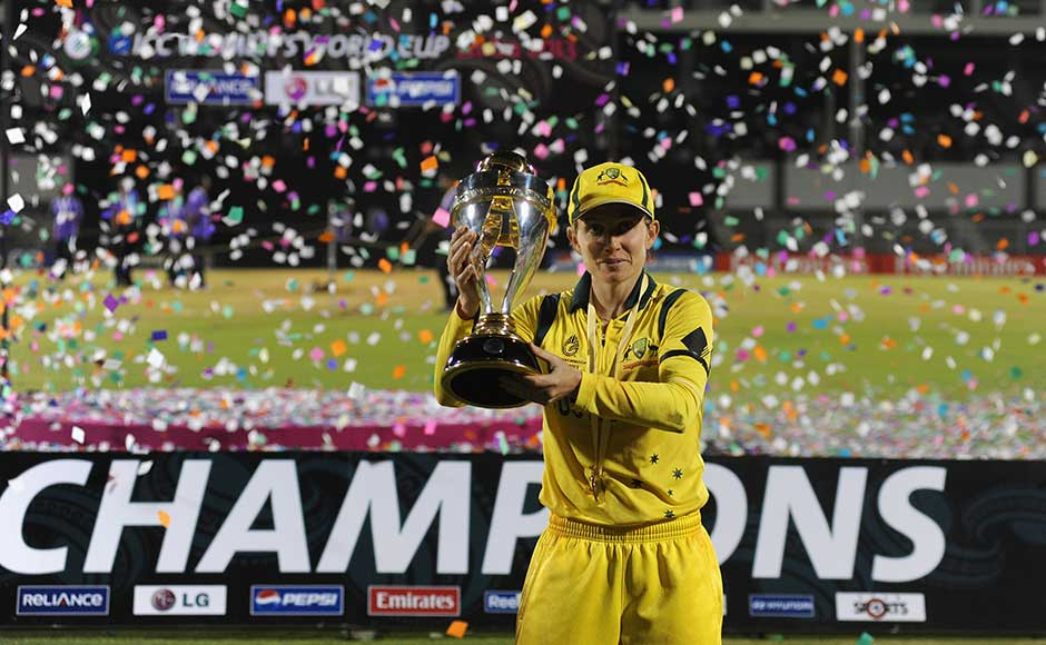 Jodie Fields, captain of Australia, poses with the Womens World Cup trophy. Pal Pillai/Getty Images