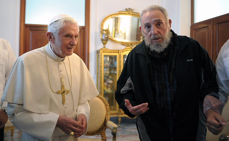 In this Wednesday, 28 March, 2012 file photo provided by the Vatican newspaper L'Osservatore Romano Pope Benedict XVI meets with Fidel Castro in Havana. AP