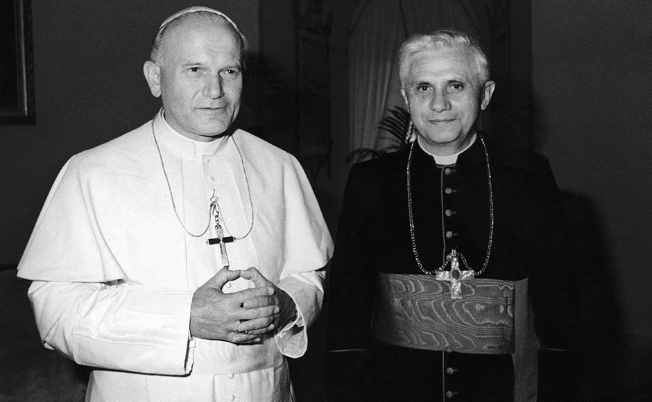 In this 1979 file photo, Pope John Paul II, left, poses with Cardinal Joseph Ratzinger of Munich, who was named on Nov. 25, 1981, Prefect of the Congregation for the Doctrine of the Faith and President of the Pontifical Biblical Commission and of the International Theological Commission, the former Holy Office. Ratzinger was elected Pope, April 19, 2005 and chose Benedict XVI as his papal name. AP