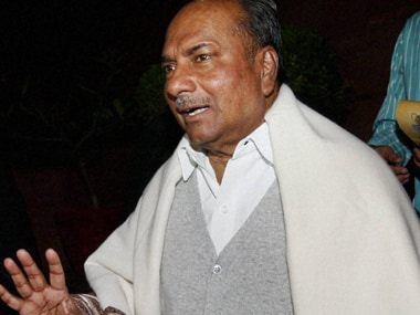 Defence Minister AK Antony after a debate on the matter of VVIP chopper deal  in the Rajya Sabha. PTI