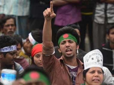A protester at the rally in Dhaka. AFP