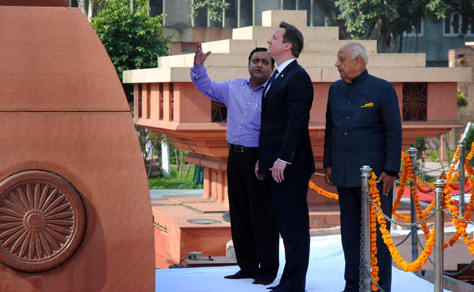 UK Prime Minister David Cameron pays his respects at the Jallianwala Bagh memorial today. AP