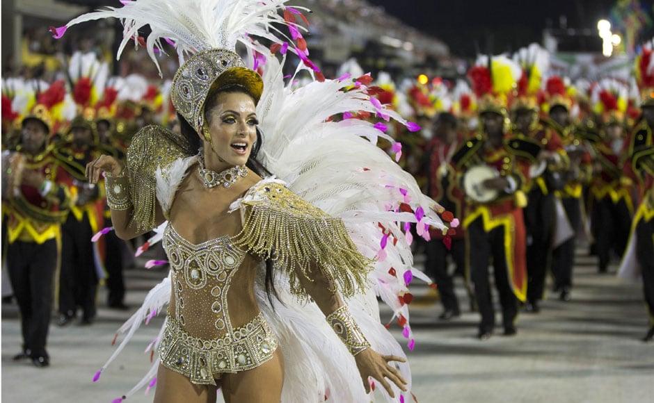 A dancer from the Academicos do Grande Rio samba school at the parade. AP