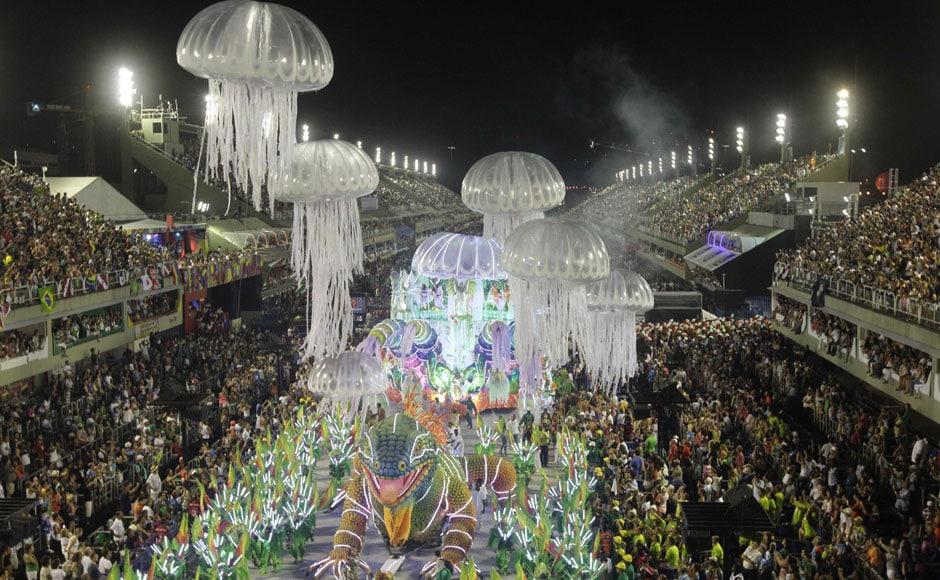 Academicos do Grande Rio samba school perfroms at the carnival. AP
