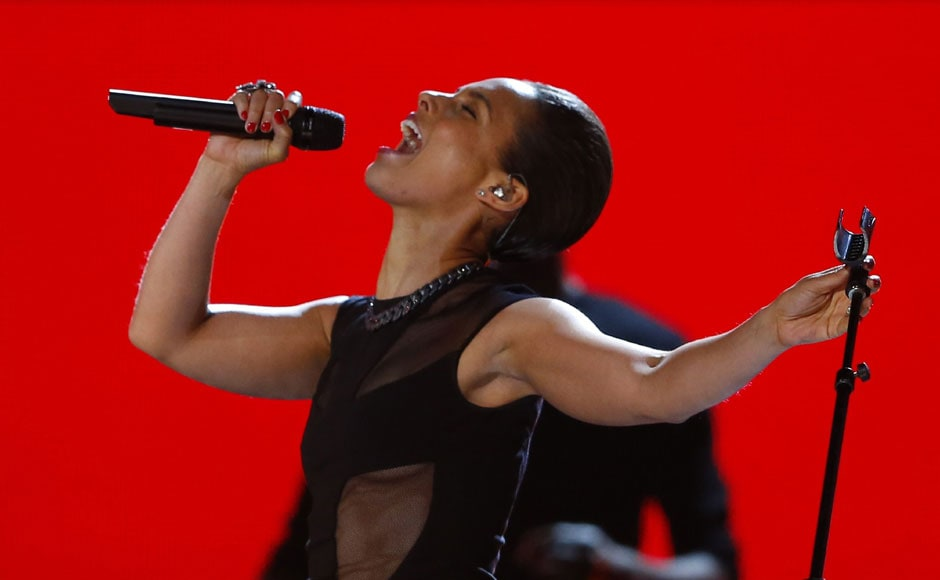 Alicia Keys performs at the 55th Grammy Awards. Reuters