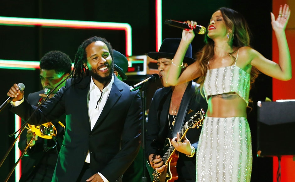 Ziggy Marley and Rihanna perform a tribute to Bob Marley. Reuters