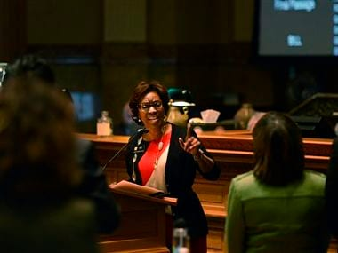 Rep. Rhonda Fields, D-Aurora, speaks before the Colorado House as they consider her bill. AP