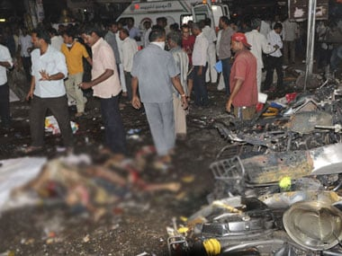 At the site of one of the Hyderabad blasts on Thursday. AP