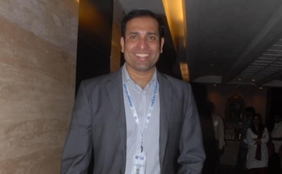 Cricketer VVS Laxman arrives for the event. Firstpost