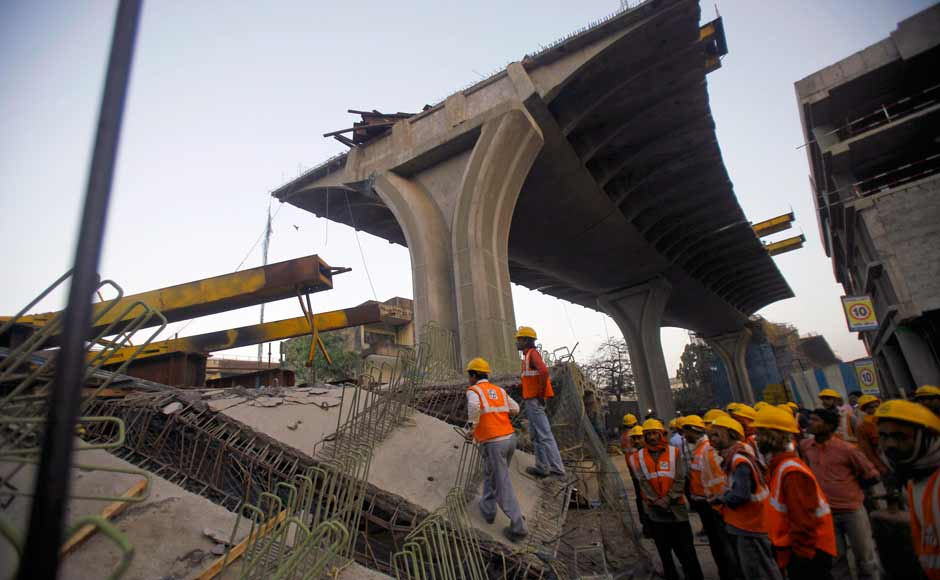 The site of the bridge collapse in the suburb of Andheri in Mumbai. The under-construction flyover links the city's international airport to a highway. AP