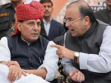 Jaitley and Singh at the protest rally in Delhi today. PTI