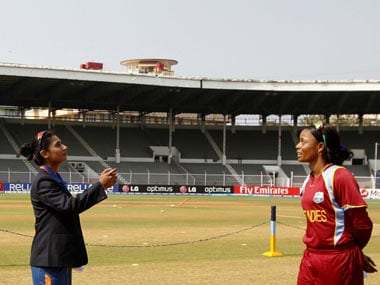 Mithali and Merissa during the toss on the opening day of the Women's World Cup. ICC/Solaris Images