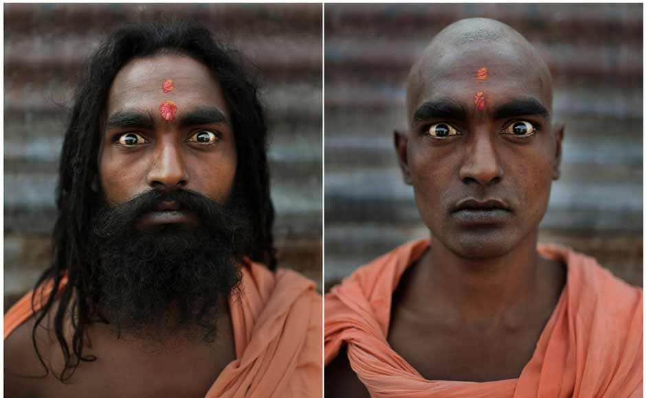 Hindu holy men before and after their heads and faces