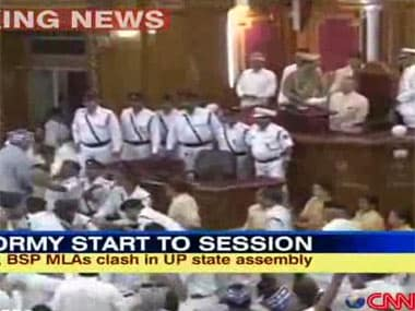 File photo of ruckus in UP assembly, courtesy IBN-Live