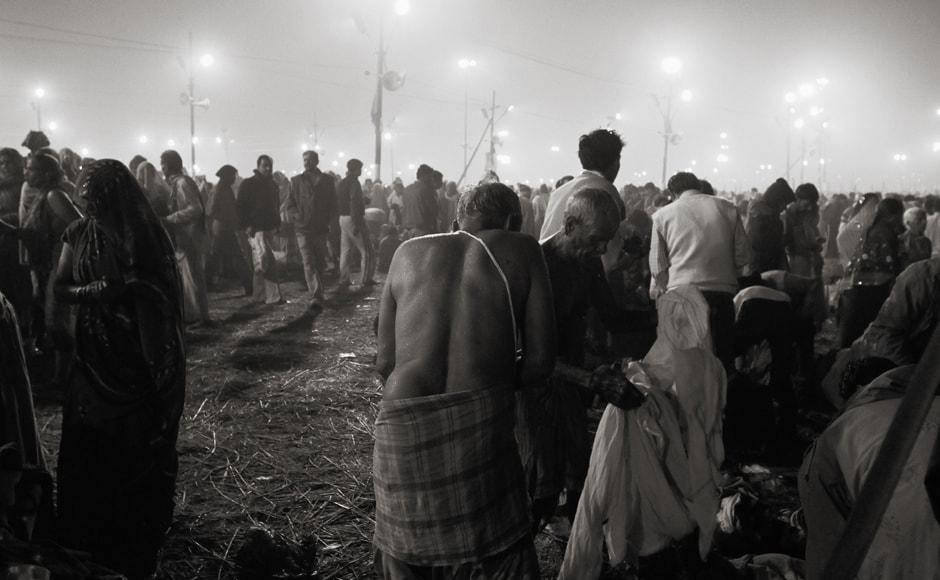 At the Sangam, there are people everywhere. Trilok Sengupta.