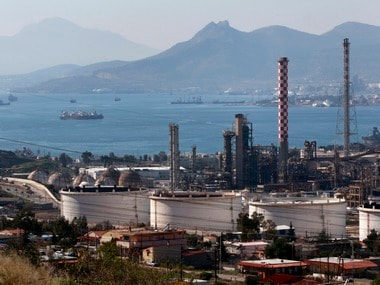 A general view of the Hellenic Petroleum refineries is seen at Aspropyrgos town