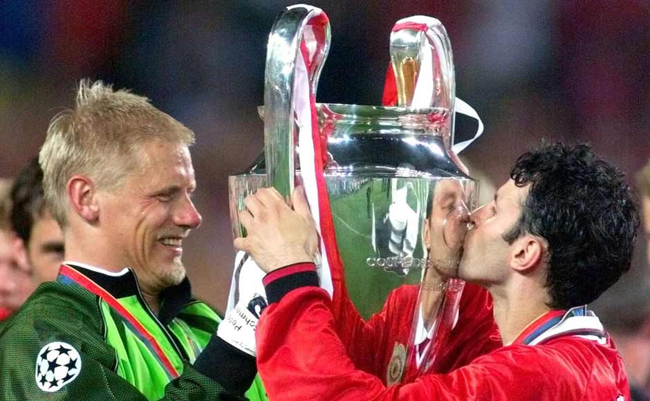 Giggs celebrating with Peter Schmeichel after United won the Champions League against Bayern Munich in 1999. Reuters