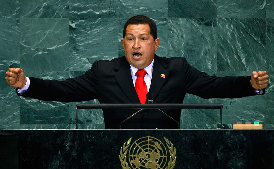 Hugo Chavez, President of Venezuela, addresses the United Nations General Assembly at the U.N. headquarters on 24 September 24, 2009 in New York City. Michael Nagle/Getty Images