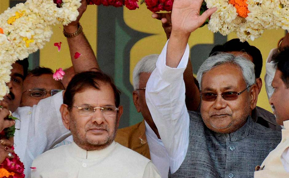 Bihar Chief Minister Nitish Kumar and JD (U) President, Sharad Yadav at the rally. Atul Yadav/PTI