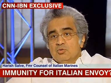 Harish Salve during the show. Image from CNN-IBN screengrab.