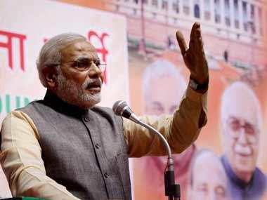 Modi at the BJP conclave. PTI