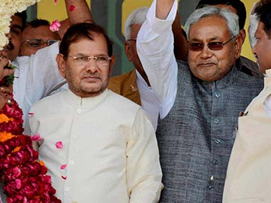 Nitish Kumar with Sharad Yadav at his Adhikar Rally.  PTI