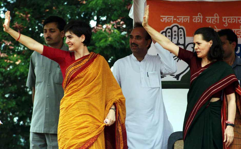 Sonia Gandhi with daughter Priyanka Gandhi in Bellary district campaigning during the 1999 elections. Sonia campaigned in two constituencies, Amethi and Bellary, both Congress strongholds and finally represented Amethi. She also became the Leader of Opposition after the BJP came to power. Reuters