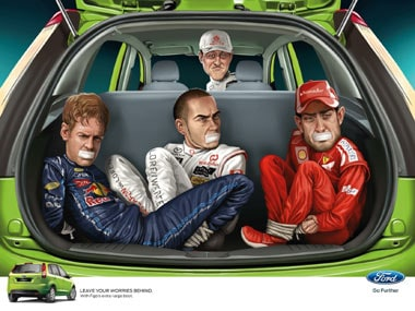 Ford's ad: A caricatured Michael Schumacher with Sebastian Vettel, Lewis Hamilton and Fernando Alonso lookalikes gagged in the back.