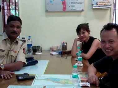 Kima and his friends at the Malbar Hill Police Station. Firstpost.
