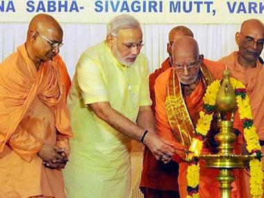 Narendra Modi at the event in Kerala. PTI.