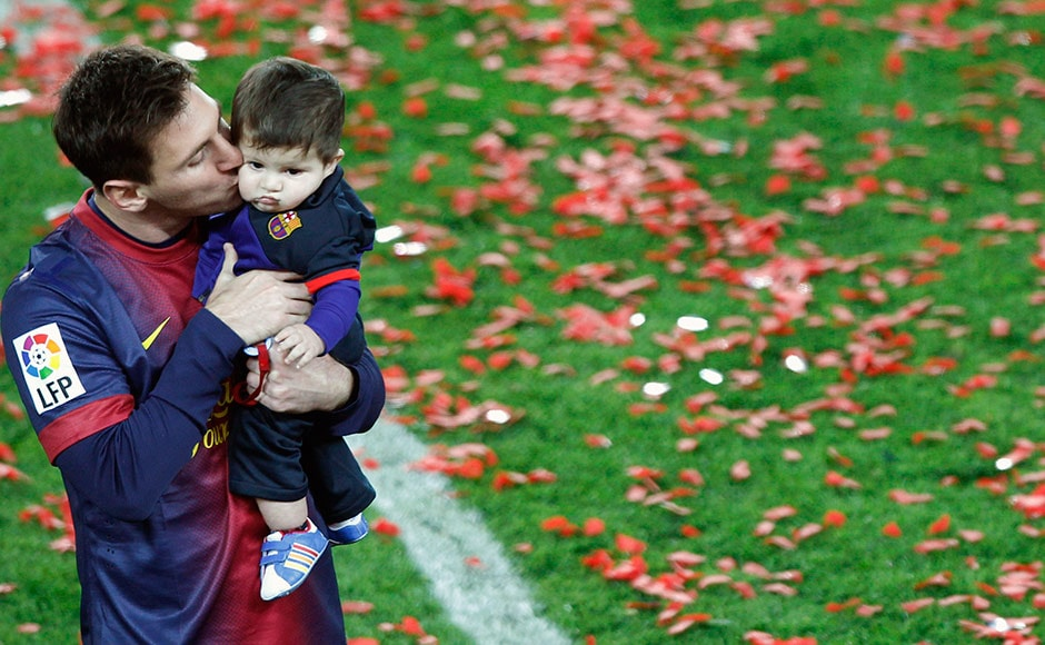 Images: Messi brings his adorable son Thiago to Barca's celebrations