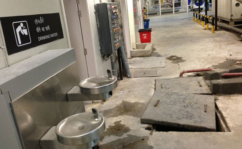 The leaking floors and interiors don't give any indication that this is a new airport: Firstpost