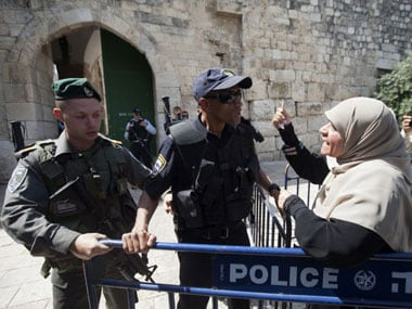 Security forces outside the Al-Aqsa mosque compound in Jerusalem. AP