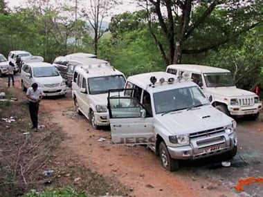 The Congress convoy that was attacked on Saturday by Maoists. PTI