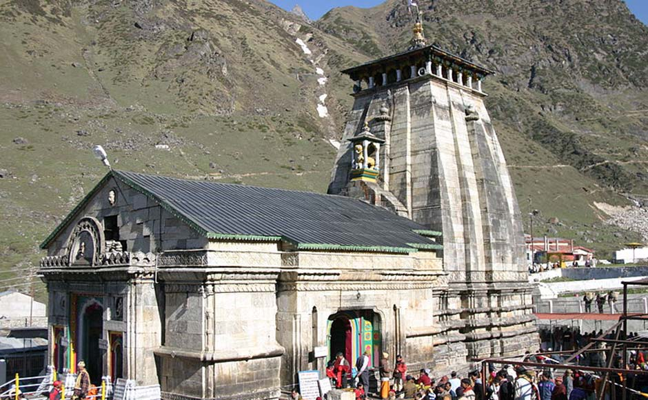 A 2007 picture of the Kedarnath temple. The temple is one of the char chota dhams (four minor places of pilgrimage) and is dedicated to Lord Shiva. The temple complex and town was severely damaged in the recent flash floods. Image from Wikimedia Commons.