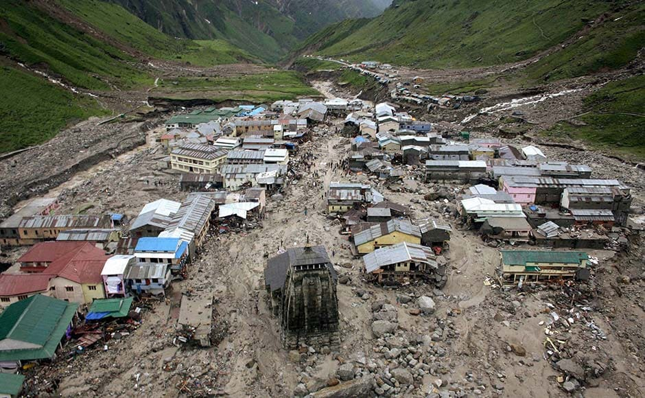 Kedarnath : A view of the washed off buildings area near Kedarnath Dham in Uttarakhand on Tuesday following incessant rains and floods. PTI