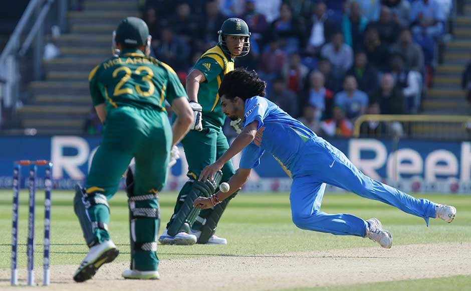 Ishant Sharma goes airborne as he attempts to catch out South Africa's Ryan McLaren. India won by 26 runs. Alastair Grant/Associated Press