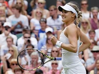 Eugenie Bouchard of Canada celebrates after beating Ana Ivanovic of Serbia. AP