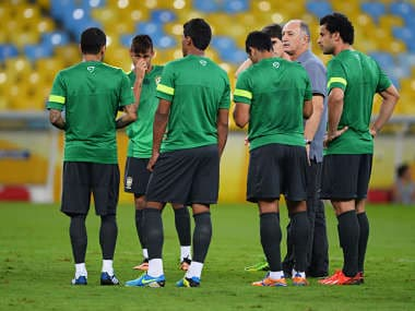 Luiz Felipe Scolari head coach of Brazil talks to players during a training session, ahead of their FIFA Confederations Cup Brazil 2013 final match against Spain. Getty Images