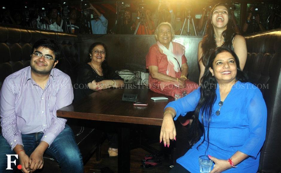 (L-R) Siddharth Chopra, Chandra Malti, Jyotsana Akhori, Barbie Handa, Priyanka Chopra's mother Madhu at the video launch of the actor's second single number Exotic in Mumbai on Friday. Sachin Gokhale/Firstpost
