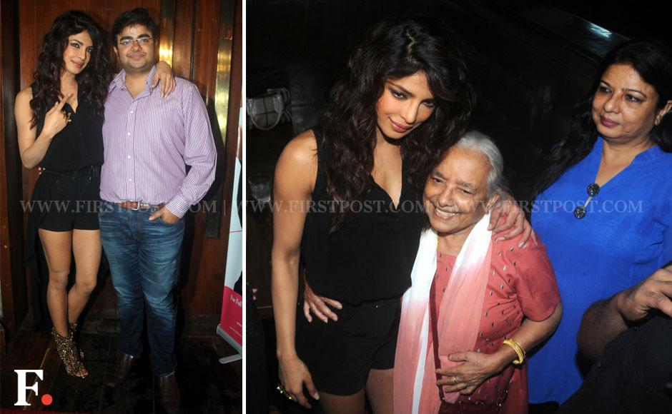 (L) Priyanka Chopra with brother Sidhdharth, (R) Priyanka's maternal grandmother Jyotsana Akhori and mother Madhu during the video launch of the actor's second single number Exotic in Mumbai on Friday. Sachin Gokhale/Firstpost