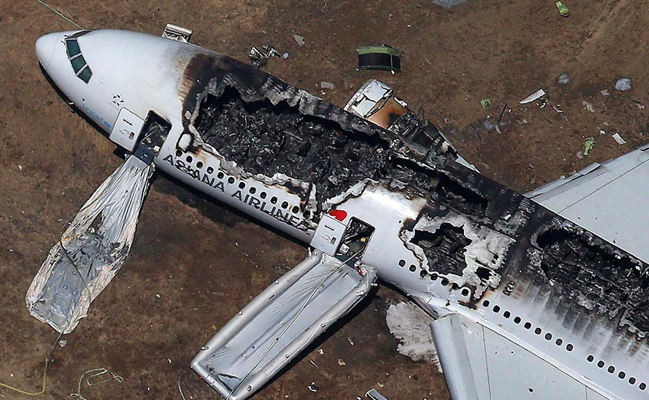 Rescue officials stand near an Asiana Airlines Boeing 777 plane after it crashed while landing at San Francisco International Airport in California. The Boeing 777, which had flown from Seoul, South Korea, was carrying 307 people. Jed Jacobsohn/Reuters