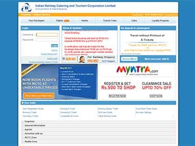 Screengrab of the IRCTC website.
