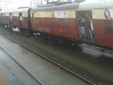 A flooded track on Central Railways today. Devang Dave/ Firstpost
