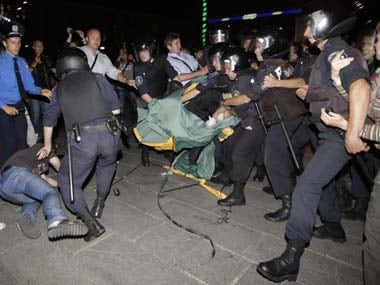 Ukraine police detain activists protesting police abuse. AP