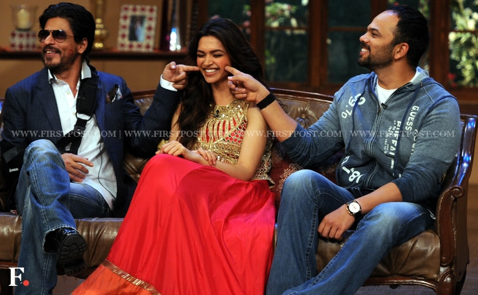 It's the clash of dimples! Chennai Express director Rohit Shetty and Shah Rukh Khan, who is still recovering from his surgery, do their bit for Deepika Padukone's dimples. Sachin Gokhale/Firstpost
