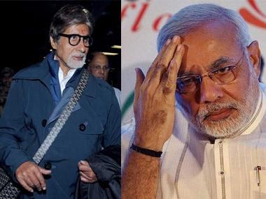 Bollywood star Amitabh Bachchan and Gujarat CM Narendra Modi.
